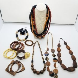 Huge Lot of Wooden Jewelry Natural Vintage and New